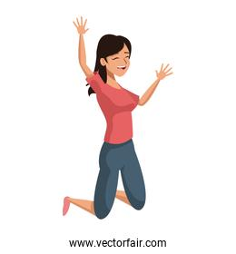 jumping happy woman in jeans and shirt image