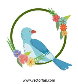 flowers leaves and love bird frame round natural image