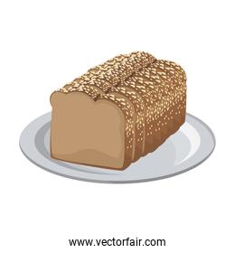 slice loaf of freshly baked bread wheat whole on plate
