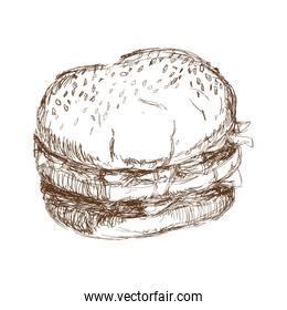 burger beefsteak tomato letucce cheese engraving