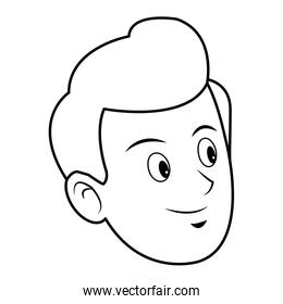 face of young man portrait cartoon smile