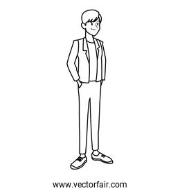 man in casual clothes hands in pocket standing