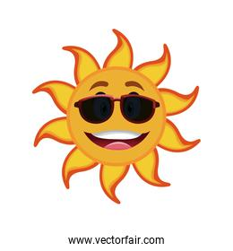 yellow smiling sun cartoon character as weather sign temperature