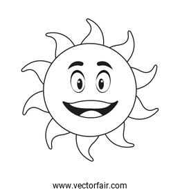 outlined sunny face smiling character icon