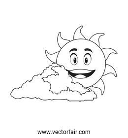 outlined sunny face smiling behind a cloud