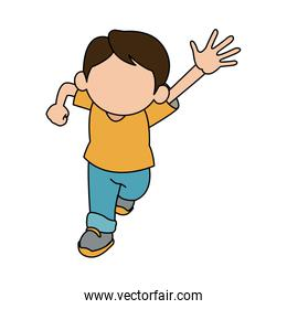 cute boy character comic young happy icon