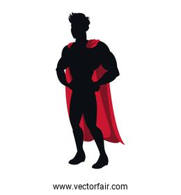 silhouette of a superhero posing vector illustration