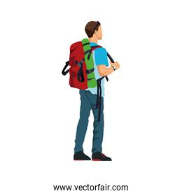 man with backpack hiking activity image