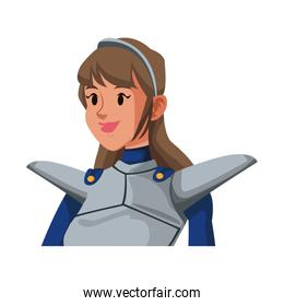 cartoon knight woman in costume with armor shield