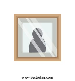 picture frame photo wooden and glass vector illustration