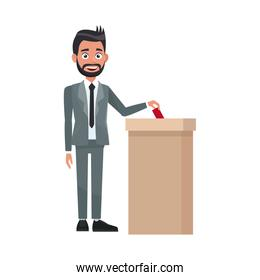 man in a suit, businessman putting paper in the ballot box. Voting concept
