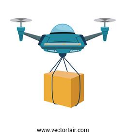 drone with a box flying delivery of the package