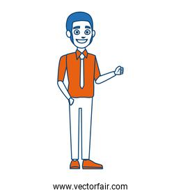 young businessman standing tie and shirt vector illustration