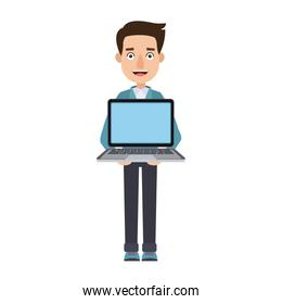 young man holding laptop notebook standing