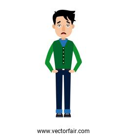 youth man in jeans standing posing isolated