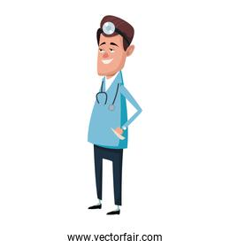 male medicine doctor assistant standing in lab coat with stethoscope vector design