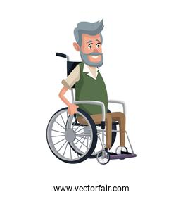 old man character disabled sitting in wheelchair image