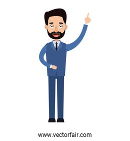 businessman cartoon character beard male with suit tie
