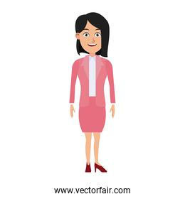 business woman standing cartoon employee
