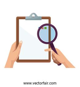 hand holding clipboard and magnifier ckecklist