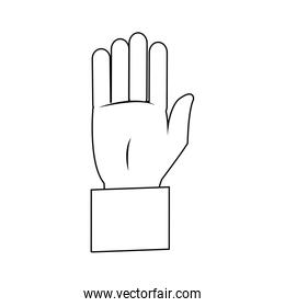 business hand man showing five fingers
