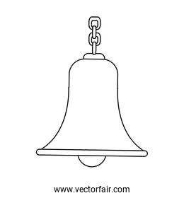 outlined bell with chain antique traditional