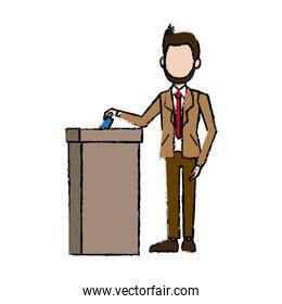 man in a suit businessman putting paper in the ballot box