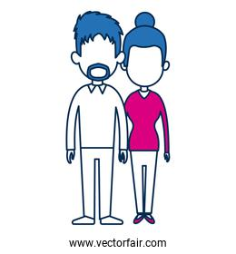 standing people couple holding hands with blue hair