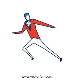 business man character person in blue and orange avatar