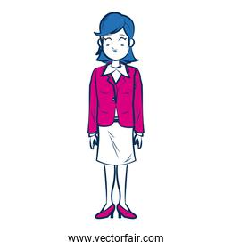 business woman person in blue and fuchsia character