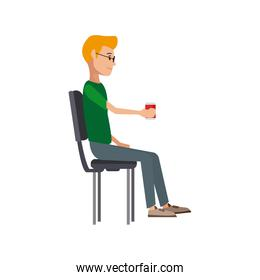 young man sitting in office chair thinking