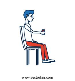 young man employee sitting with coffee cup time break