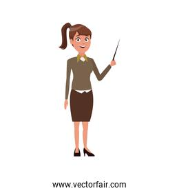 young woman standing holding stick presentation