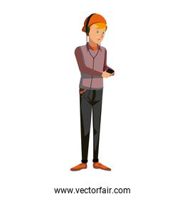 cartoon guy student standing in casual clothes