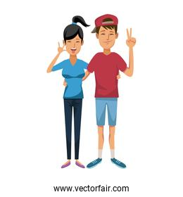 young happy couple parent or couple gesturing with blissful smile