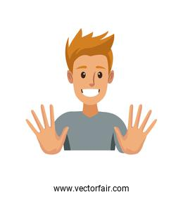 funny young man making hands gesturing