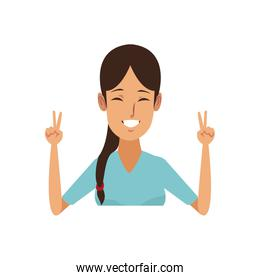 portrait young woman funny gesture cartoon