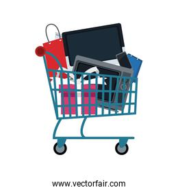shopping cart full with television cellphone bags biggest discount promotion