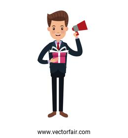 businessman character holding speaker and gift box