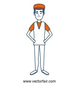 standing man young people cartoon image