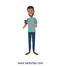 bearded man using smartphone chating