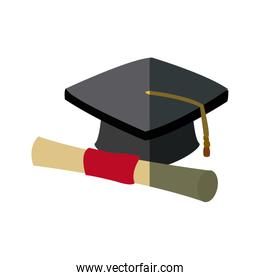 graduation cap and diploma rolled finish education symbol