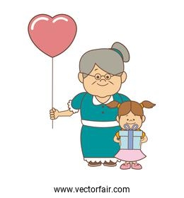 little girl and grandmother together family