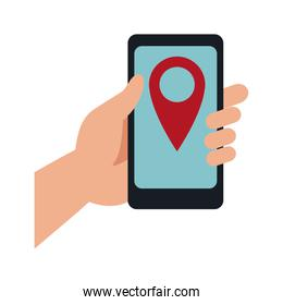 hand holding mobile phone with pin map