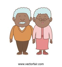 Couple of lovely people. Man and woman hold hands on a white background together family