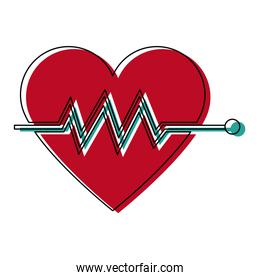 heartbeat cardiac monitoring pulse flat icon for medical