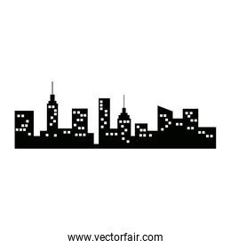 city silhouette with windows architectural building