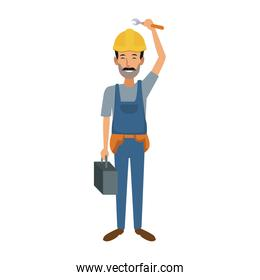repairman or construction worker with safety hat
