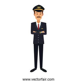 commercial airlines pilot in uniform crossed arms