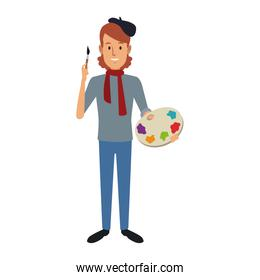 portrait of happy male painter artist painting with colorful palette standing